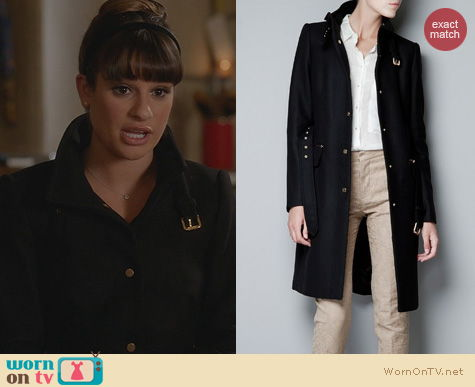 Lea Michele Fashion: Zara Black Coat Worn on Glee