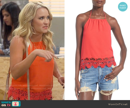Leith Lace Trim Halter Top worn by Emily Osment on Young & Hungry