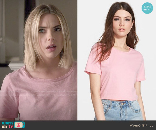 Leith Crop Crewneck Tee in Pink Peony worn by Ashley Benson on PLL