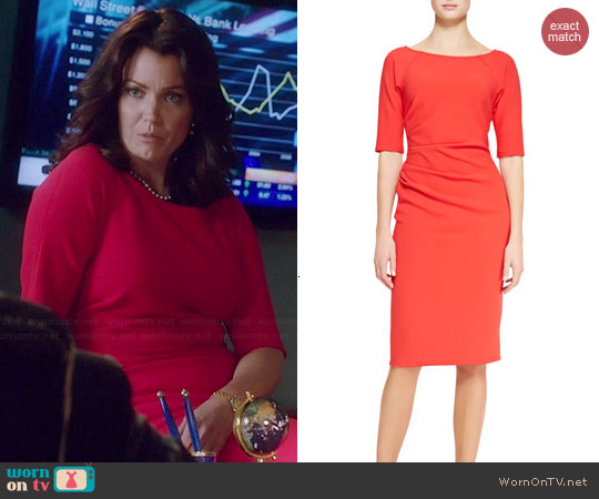 Lela Rose 3/4 Sleeve Side-Ruched Dress worn by Bellamy Young on Scandal