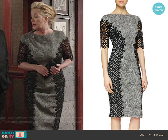 Lela Rose Lace-Detailed Speckled Dress worn by Melody Thomas-Scott on The Young & the Restless