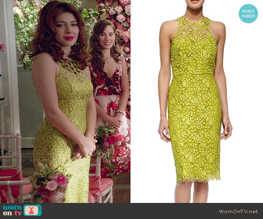 Lela Rose Cutout-Back Floral Lace Sheath Dress worn by Elena Satine on Revenge