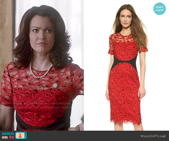 Lela Rose Fitted Lace Sheath Dress worn by Bellamy Young on Scandal