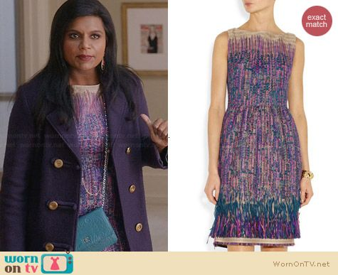 Lela Rose Fringed Tweed Dress worn by Mindy Kaling on The Mindy Project
