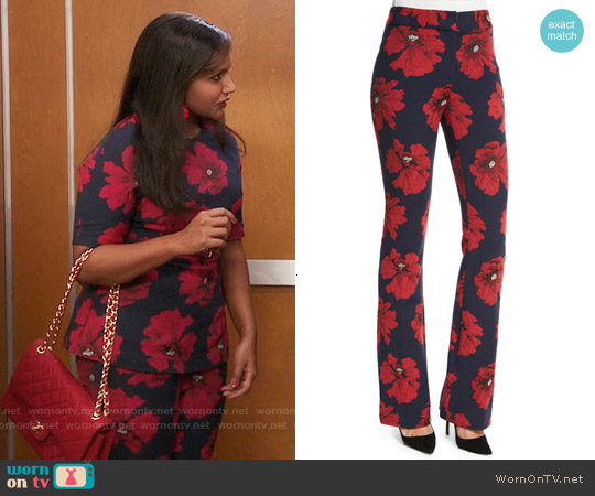 Lela Rose Sam Flare-Leg Floral-Print Pants in Navy/Poppy worn by Mindy Lahiri on The Mindy Project