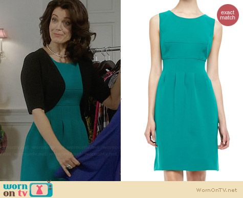 Lela Rose Sleeveless Classic Sheath in Jade worn by Bellamy Young on Scandal