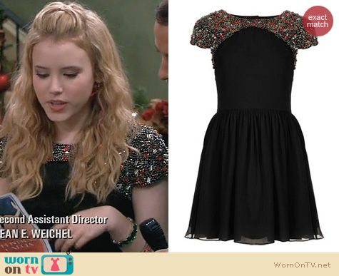 Lennox Scanlan Fashion: Topshop Embellished Shoulder Skater Dress worn on Melissa & Joey