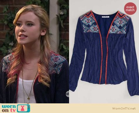 Lennox Scanlon Fashion: American Eagle Embroidered Cardigan worn on Melissa & Joey