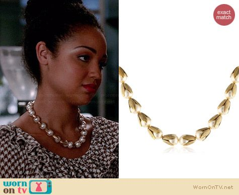 Lenora Dame Retro Pearl Petals Necklace worn by Aisha Dee on Chasing Life