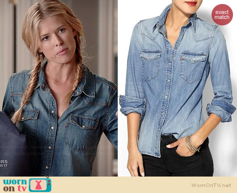 Levi's Denim Tailored Shirt worn by Sarah Wright Olsen on Marry Me