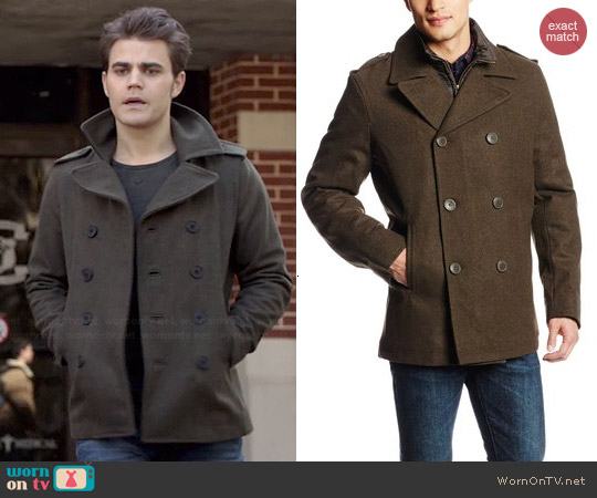 Levi's mens olive peacoat worn by Paul Wesley on The Vampire Diaries