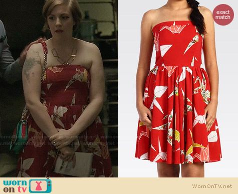 Levis Paper Cranes Strapless Dress worn by Lena Dunham on Girls