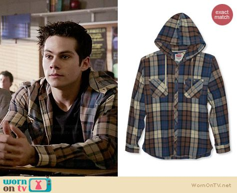 Levi's Plaid Hooded Button Down worn by Dylan O'Brian on Teen Wolf