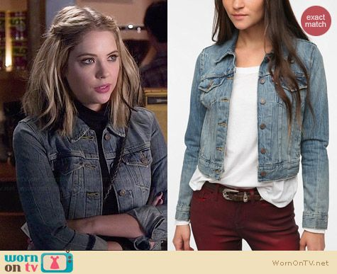Levis Denim Trucker Jacket in Destroyed Wash worn by Ashley Benson on PLL