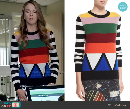 Libertine Sonia Striped Jewel-Neck Cashmere Sweater worn by Sutton Foster on Younger