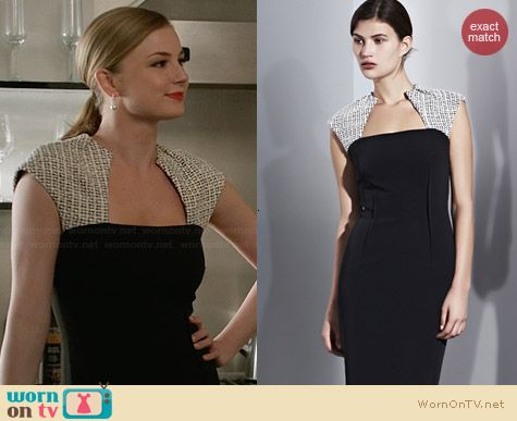 Lida Baday Contrast Dress worn by Emily Thorne on Revenge