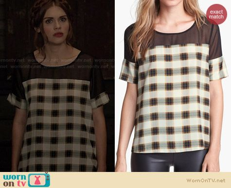Like Mynded Chiffon Yoke Plaid Top worn by Holland Roden on Teen Wolf