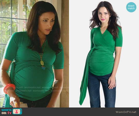 Lilac Clothing Bella Top in Green worn by Reshma Shetty on Royal Pains