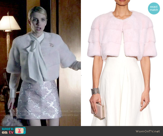 Lilly E Violetta Sarah Mink Fur Cropped Jacket worn by Emma Roberts on Scream Queens