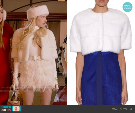 Lilly E Violetta White Sarah Jacket worn by Chanel Oberlin on Scream Queens