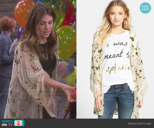Lily White Velvet Detail Fringe Kimono Jacket worn by Marci Miller on Days of our Lives