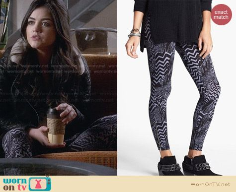 Lily White Zip Cuff Printed Leggings worn by Lucy Hale on PLL