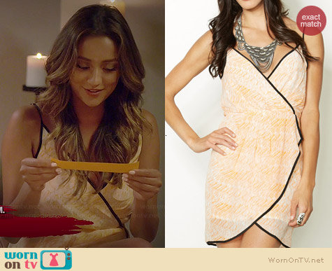 Line & Dot Contrast Wrap Dress worn by Shay Mitchell on PLL