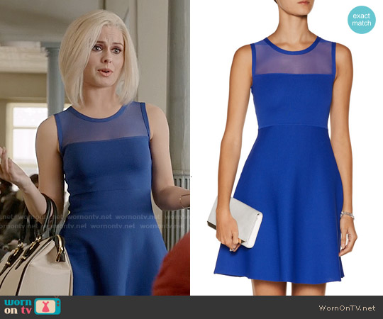 Line Mesh-Paneled Stretch-Knit Mini Dress worn by Rose McIver on iZombie