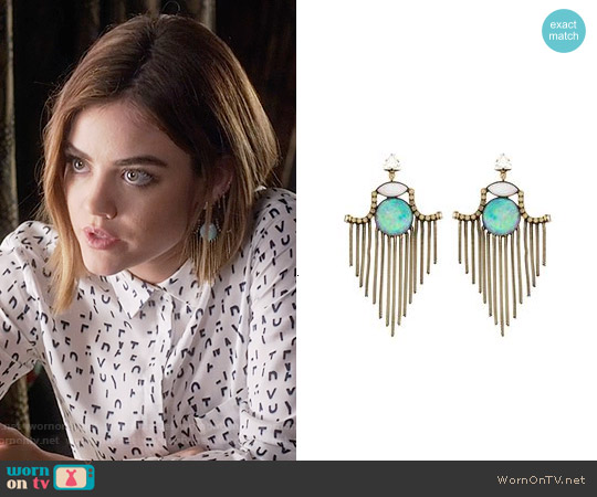 Lionette NY Garrett Gerson Earrings worn by Lucy Hale on PLL