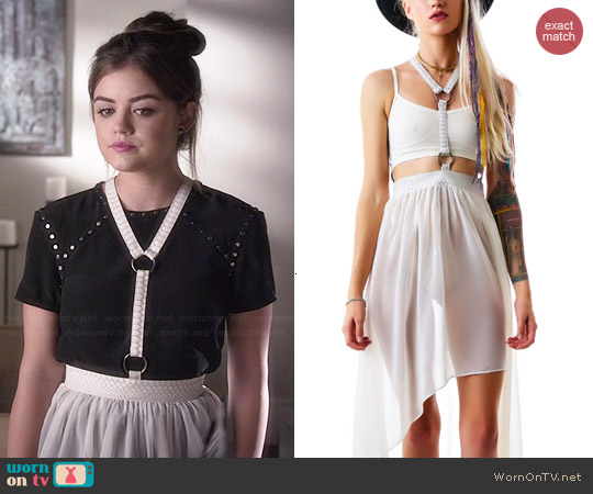 Lip Service Fall From Grace Harness Skirt worn by Lucy Hale on PLL