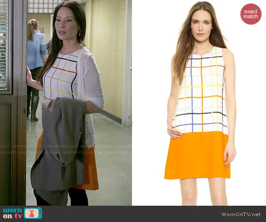 Lisa Perry Windowpane Combo Dress worn by Lucy Liu on Elementary