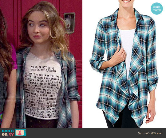 Living Doll Plaid Open Front Shirt worn by Maya Hart on Girl Meets World