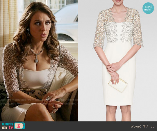 LK Bennett Hattie Lace Trim Dress worn by Elizabeth Hurley on The Royals