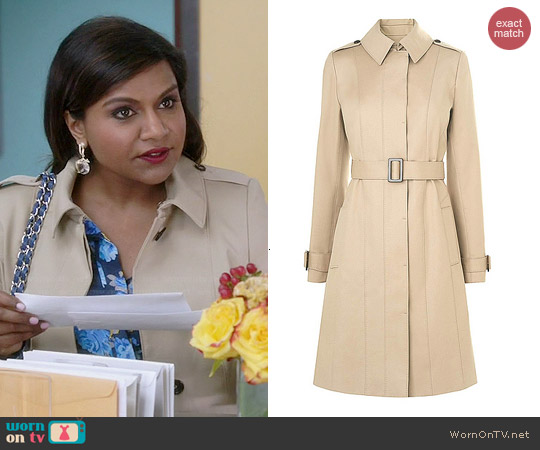 LK Bennett Janis Single Breasted Trench Coat worn by Mindy Kaling on The Mindy Project