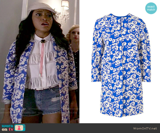 LK Bennett Lyda Jacquard Coat worn by Keke Palmer on Scream Queens