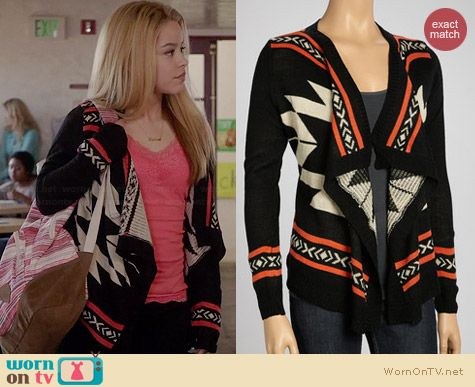 LLOVE Geometric Draped Cardigan worn by Cierra Ramirez on The Fosters