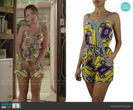 LnL Clothing Abstract Print Surplice Romper worn by Cierra Ramirez on The Fosters