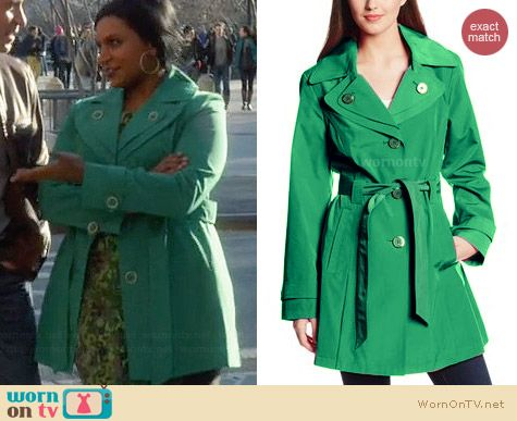 London Fog Double Collar Trench Coat in Green worn by Mindy Kaling on The Mindy Project