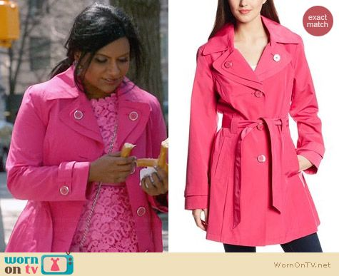 London Fog Pink Single Breasted Double Collar Trench worn by Mindy Kaling on The Mindy Project