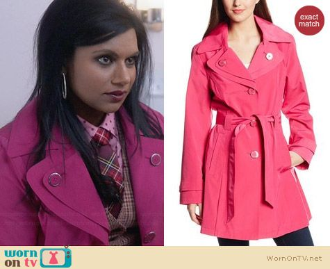 London Fog Pink Double Collar Trench Coat worn by Mindy Kaling on The Mindy Project