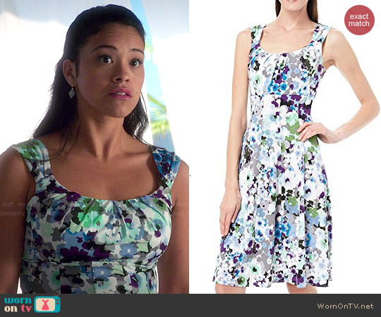London Times Watercolor Floral Dress worn by Gina Rodriguez on Jane the Virgin
