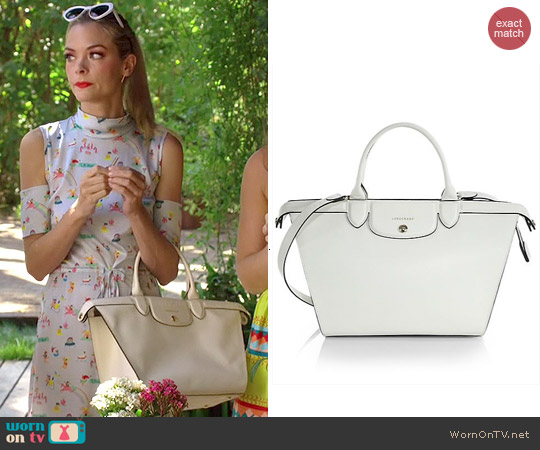 Longchamp Le Pliage Heritage Saffiano Satchel Bag in Ecru worn by Lemon Breeland on Hart of Dixie