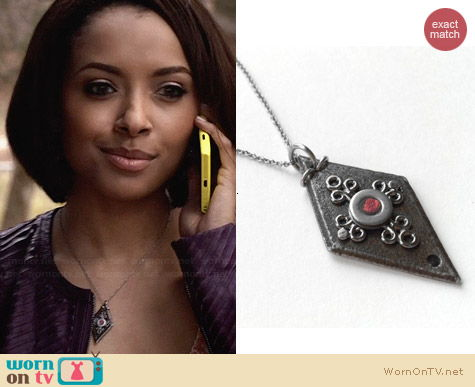 Loralyn Designs Black Diamond Shaped Pendant Necklace worn by Kat Graham on The Vampire Diaries