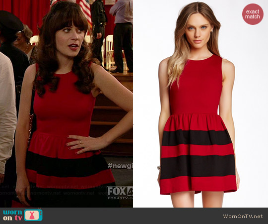 Love Ady Teacup Dress in Red/Black worn by Zooey Deschanel on New Girl