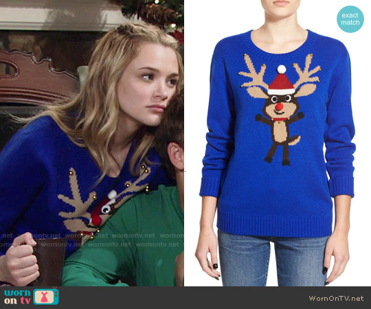 Love by Design Embellished Rudolph Christmas Sweater worn by Hunter King on The Young & the Restless