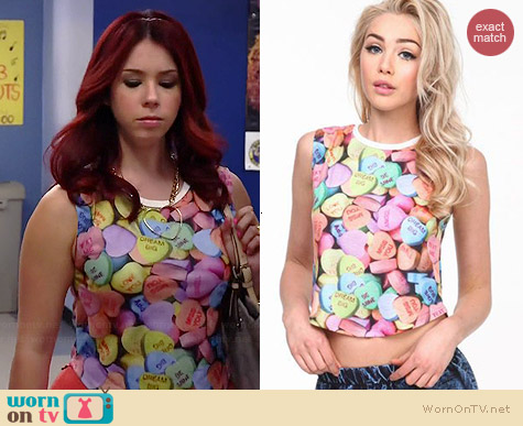 Love Culture Candy Hearts Top worn by Jillian Rose Reed on Awkward