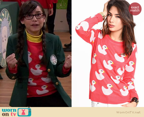 Love Culture Rubber Ducky Knit Sweater worn by Cecelia Balagot on Girl Meets World