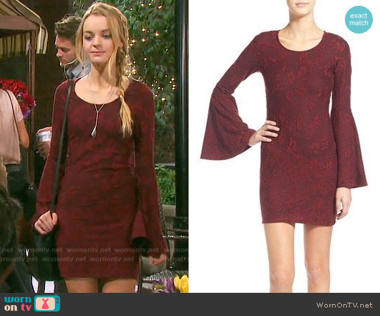 Love, Fire Textured Bell Sleeve Body-Con Dress worn by Olivia Rose Keegan on Days of our Lives