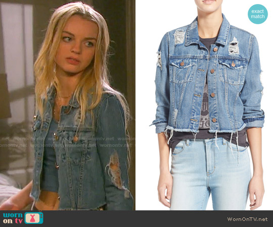 Love, Fire Distressed Denim Jacket worn by Olivia Rose Keegan on Days of our Lives