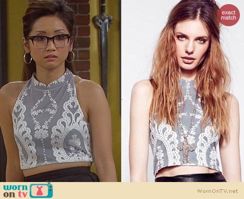 For Love & Lemons Anna Crop Top worn by Brenda Song on Dads